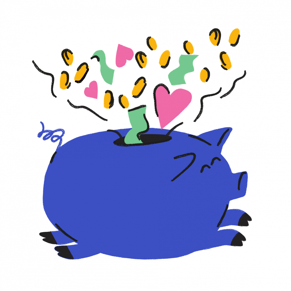 Illustration of a running piggy bank