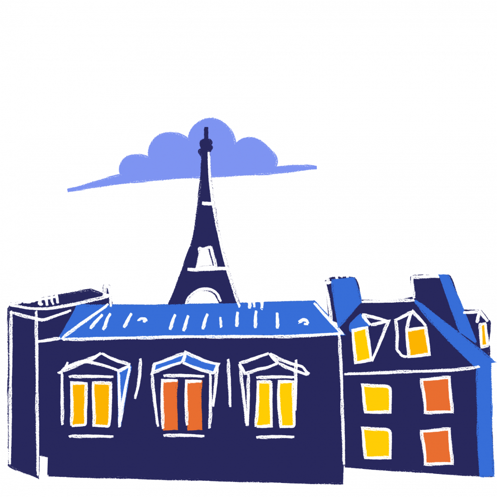 Illustration of Parisian rooftops